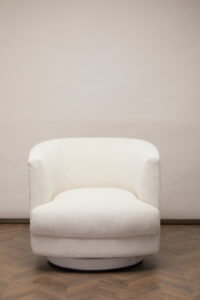 Cleo Swivel Fåtölj – Antique White Linne