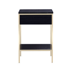 Erin Side Table – Brass – Black Oak