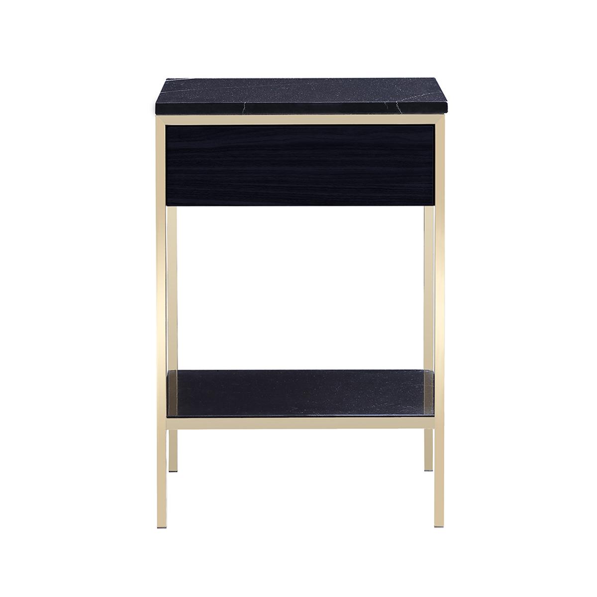 Erin Side Table – Brass – Black Oak