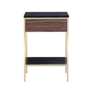 Erin Side Table – Brass – Walnut
