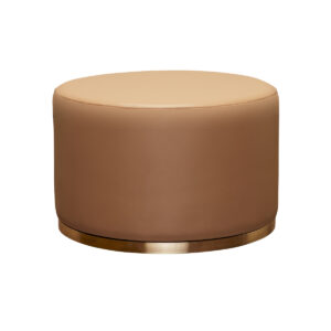 Cara Ottoman – Beige Leather