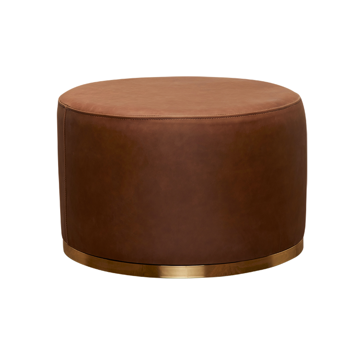 Cara Ottoman – Brown Leather