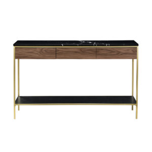 Erin Console Table – Brass & Black