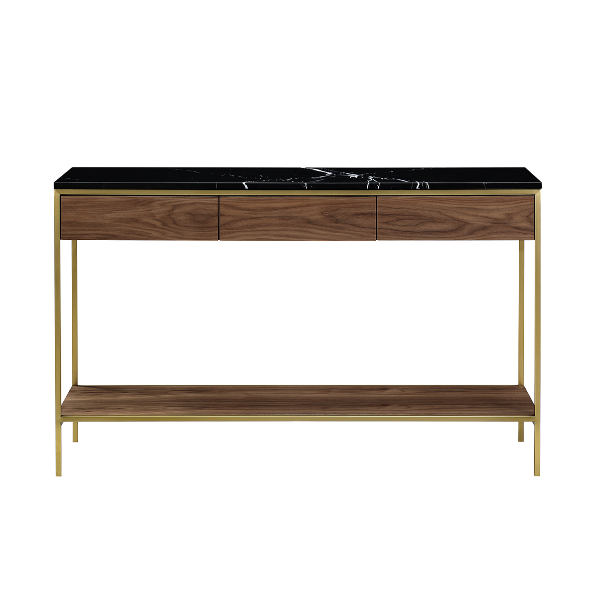 Erin Console Table – Mässing & Valnöt