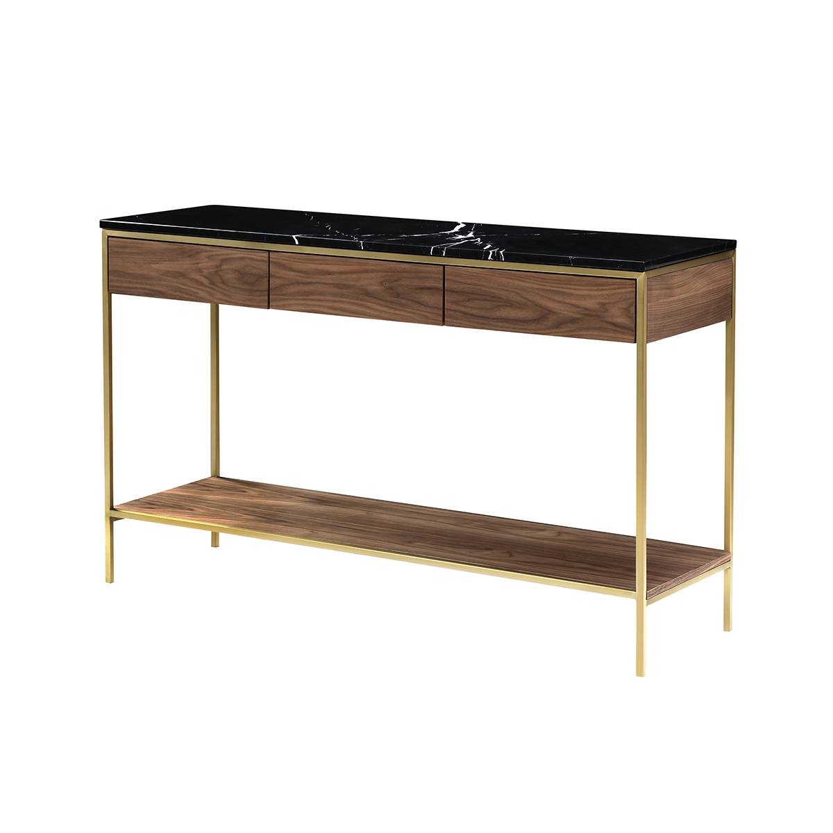 Erin Console Table – Brass & Walnut
