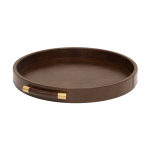 Luca Leather Tray Round – Brun