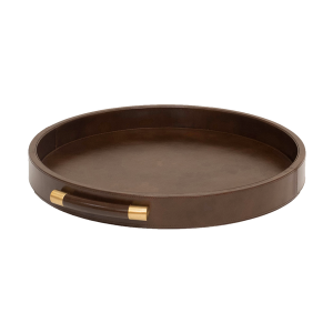 Luca Leather Tray Round – Brown