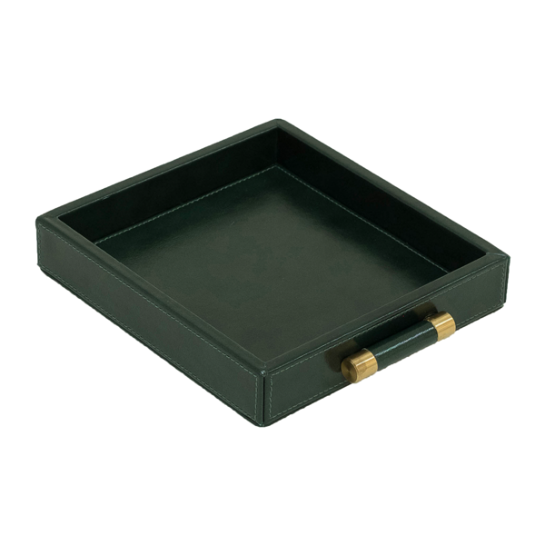 Luca Leather Tray Small – Grön