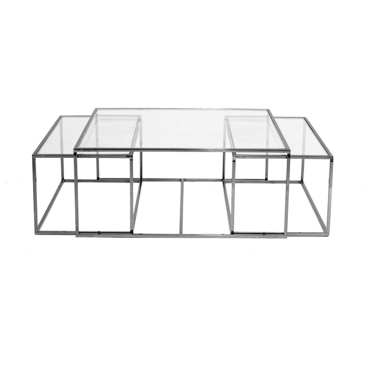 Three Set Table Large – Black Chrome