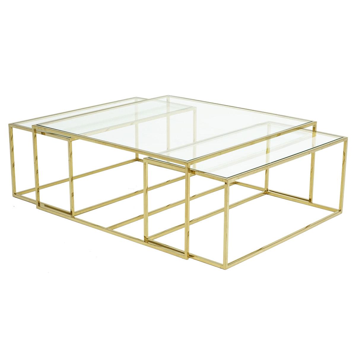 Three Set Table Large – Polerad Mässing