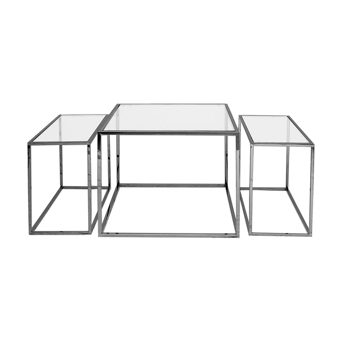 Three Set Soffbord – Small – Svart krom