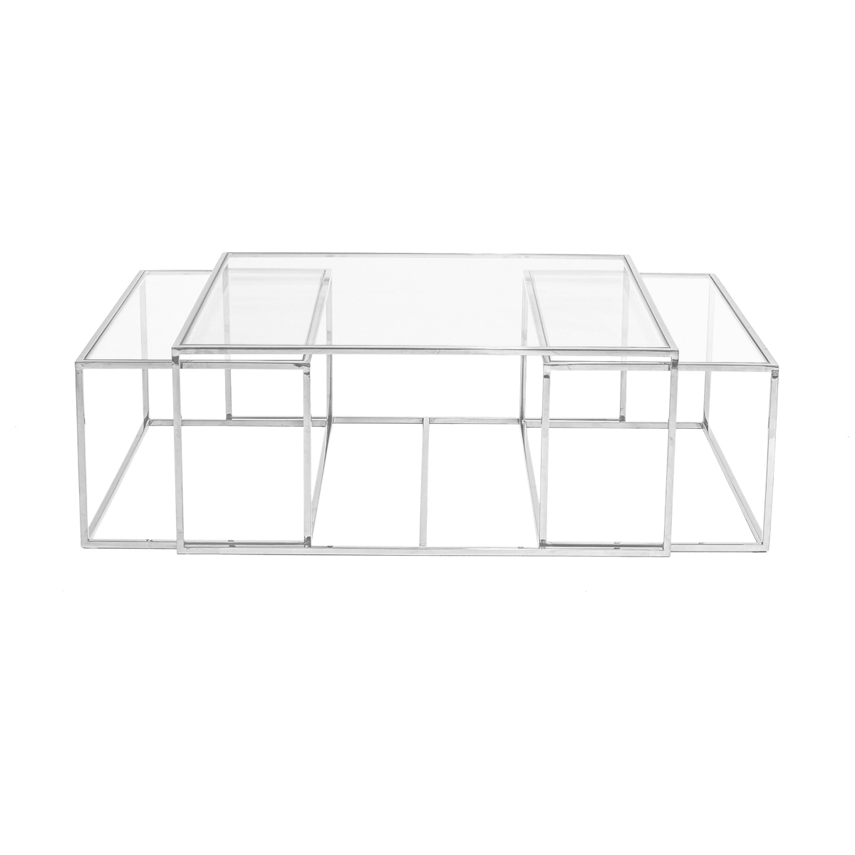 Three Set Table Large – Chrome